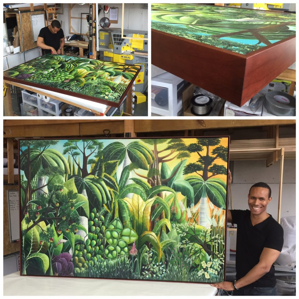 A garden canvas stretched at Frames and Stretchers in the Lower East Side.
