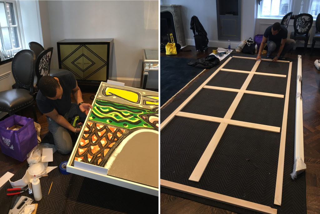 stretchers and floater frame onsite installation